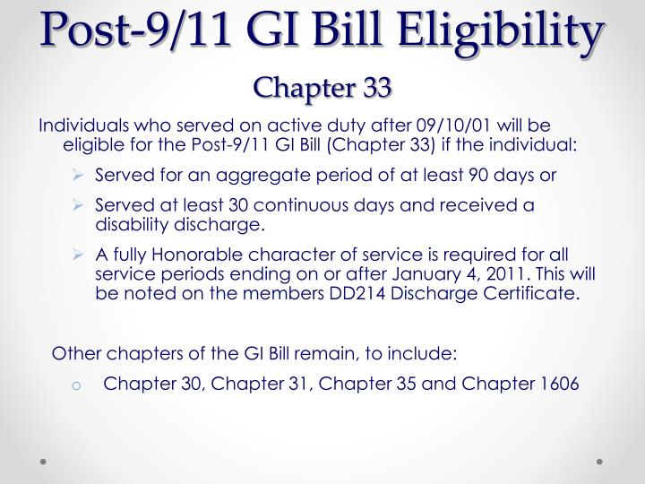 gi bill robitaille richard chapter military college duty active veterans affairs berkeley eligibility dr march office ppt powerpoint presentation individuals