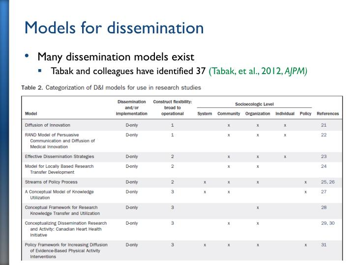 Models for dissemination