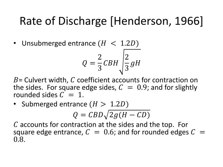 Rate of Discharge [Henderson, 1966]