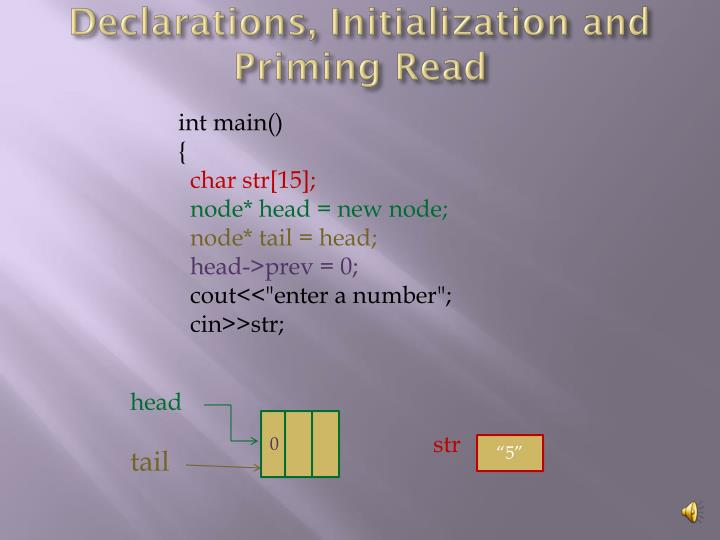 Declarations, Initialization and Priming Read
