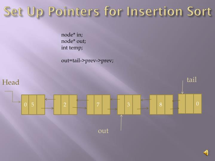 Set Up Pointers for Insertion Sort