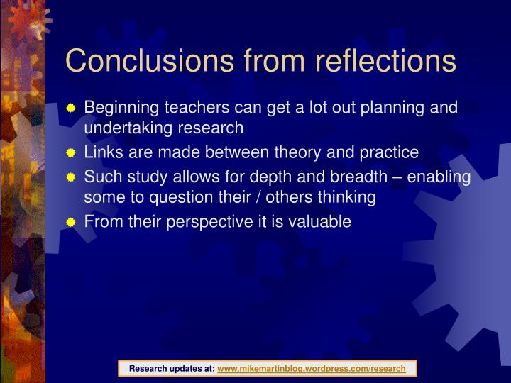 Conclusions from reflections