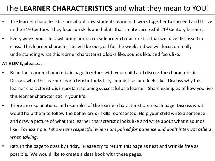 the learner characteristics and what they mean to you n.