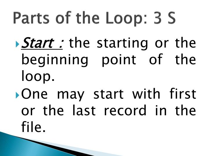 Parts of the Loop: 3 S