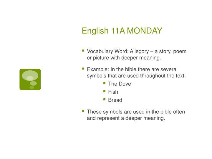 English 11a monday