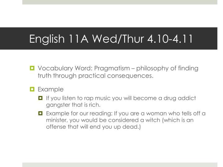 English 11A Wed/