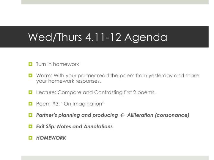 Wed/Thurs 4.11-12 Agenda