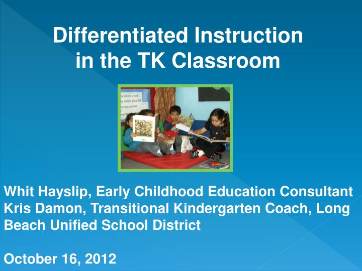 differentiated instruction in the tk classroom n.