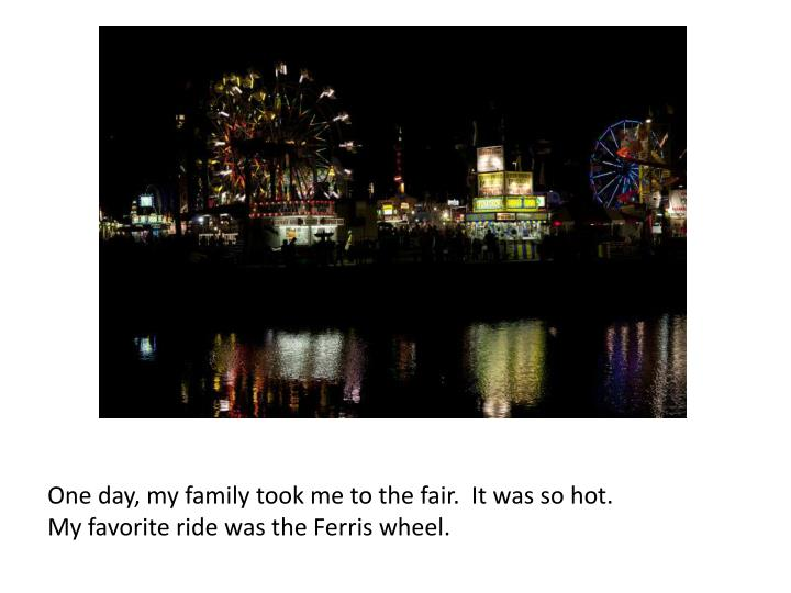 One day, my family took me to the fair.  It was so hot.