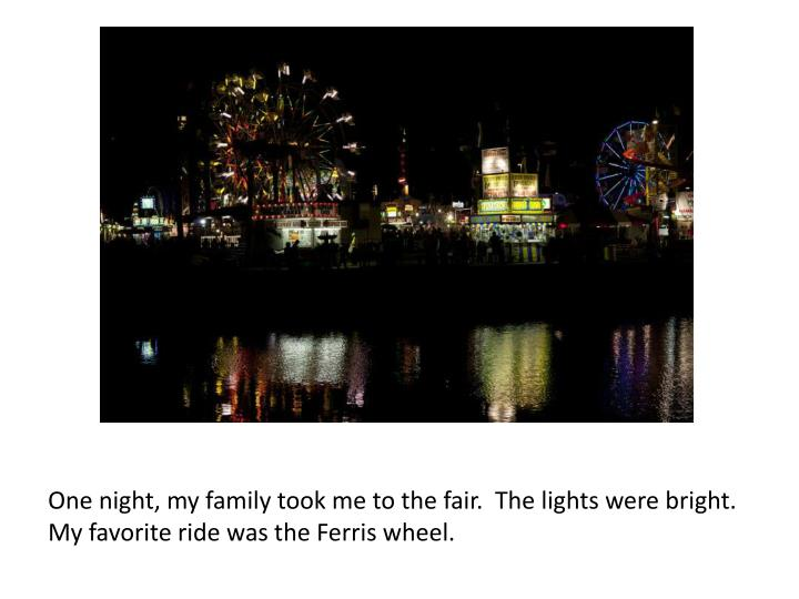 One night, my family took me to the fair.  The lights were bright.  My favorite ride was the
