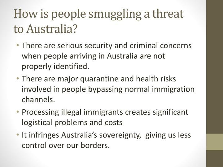 How is people smuggling a threat to Australia?
