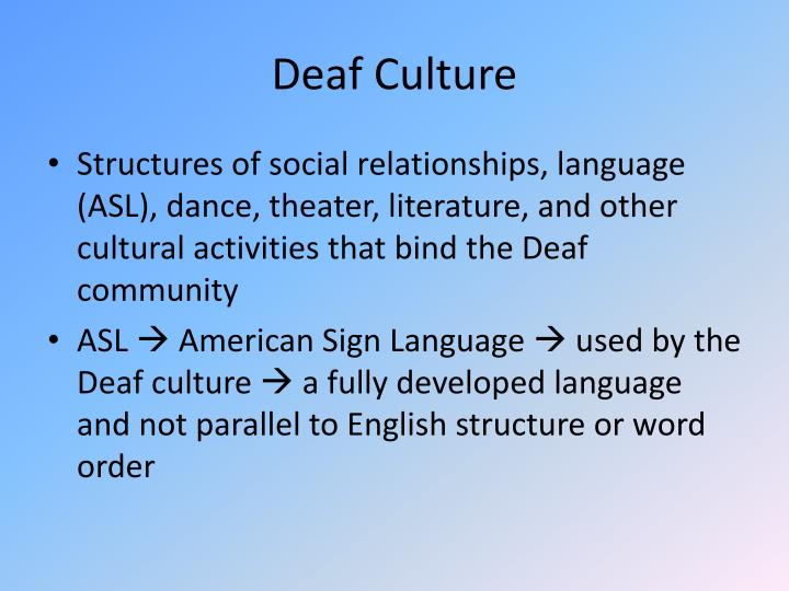 demystifying common misconceptions about the deaf and deaf culture Not only do our society and culture need an attitude adjustment, but unfortunately the system itself needs an adjustment  alzheimer's disease is the most common form of dementia it's a progressive, degenerative neurological disease of the brain, and causes thinking and memory to become seriously impaired to a point where it is lost.