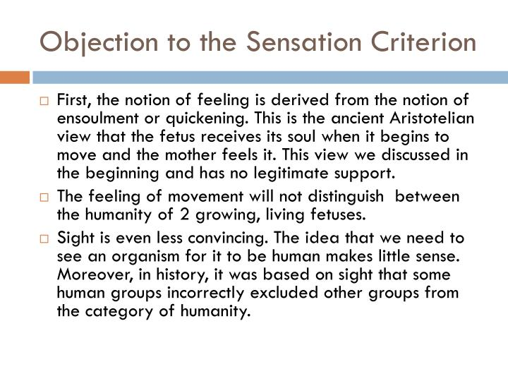 Objection to the Sensation Criterion