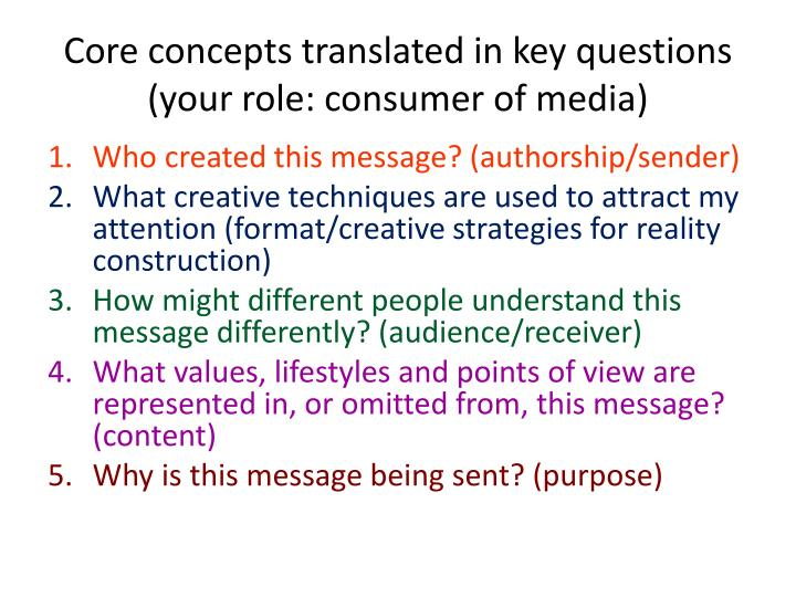 Core concepts translated in key questions (your role: consumer of media)