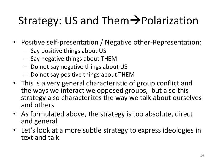 Strategy: US and Them