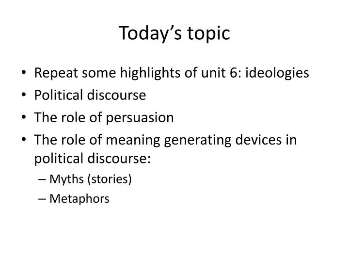 Today s topic