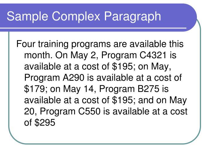 Sample Complex Paragraph