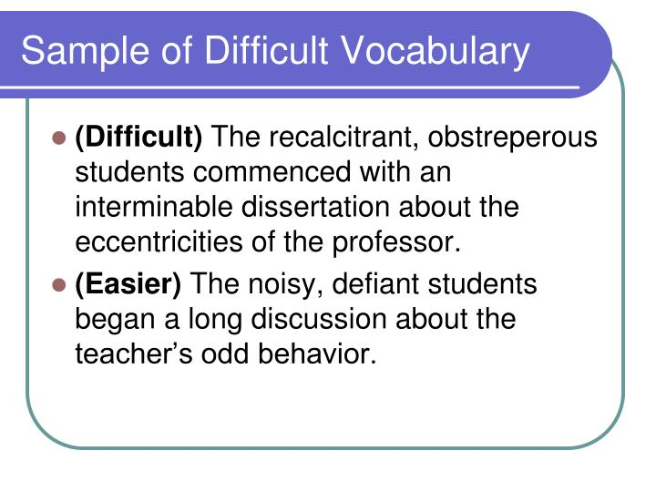 Sample of Difficult Vocabulary