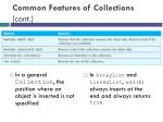 common features of collections cont1