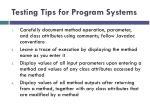 testing tips for program systems