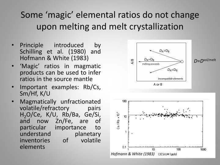 Some 'magic' elemental ratios do not change upon melting and melt crystallization