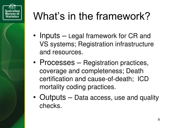 What's in the framework?