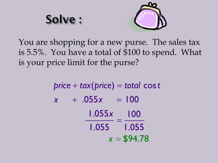 Solve :