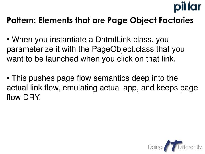Pattern: Elements that are Page Object Factories