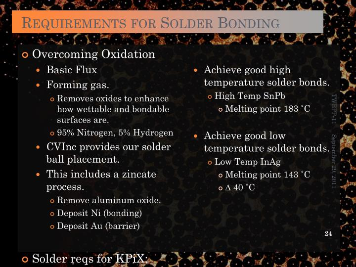 Requirements for Solder Bonding