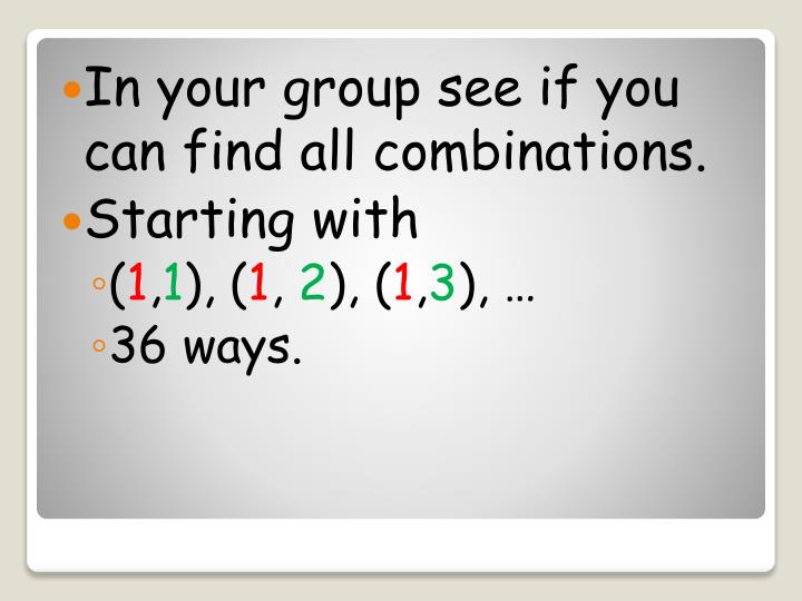 In your group see if you can find all combinations.