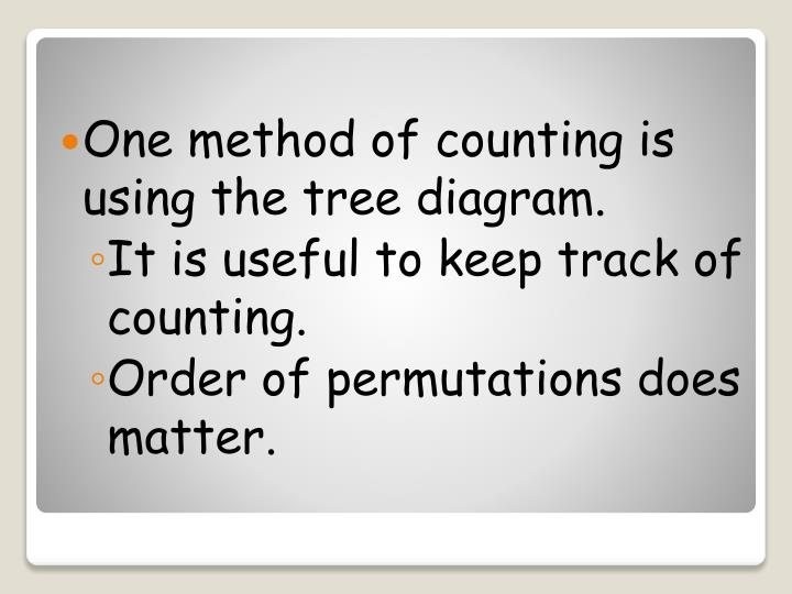 One method of counting is using the tree diagram.