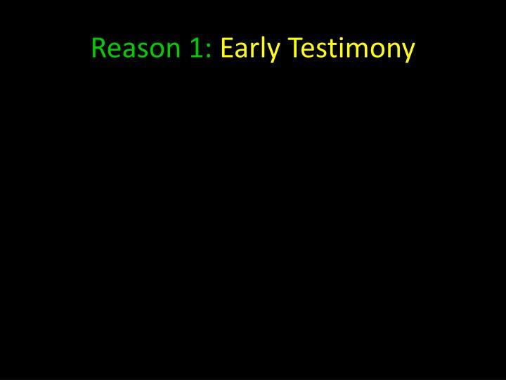 Reason 1: