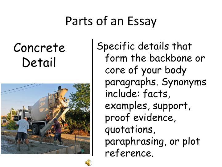 specific parts of an essay The parts of a paragraph easily correspond to the parts of an essay:  thesis  statement and indicates the specific claim or argument that the essay will develop ,.