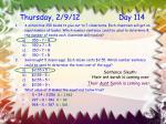 thursday 2 9 12 day 114