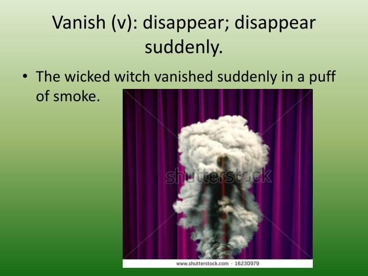 Vanish (v): disappear; disappear suddenly.