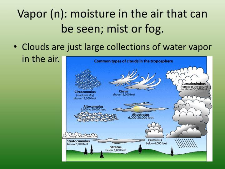 Vapor (n): moisture in the air that can be seen; mist or fog.