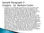 sample paragraph 2 gregory by barbara carter