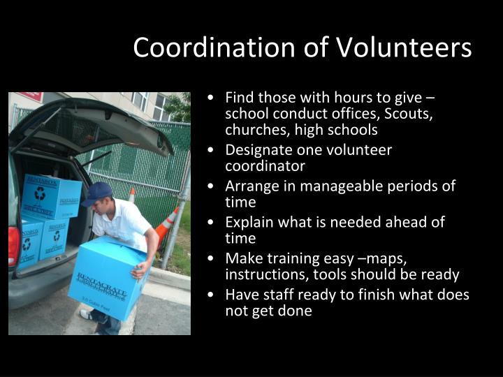 Coordination of Volunteers