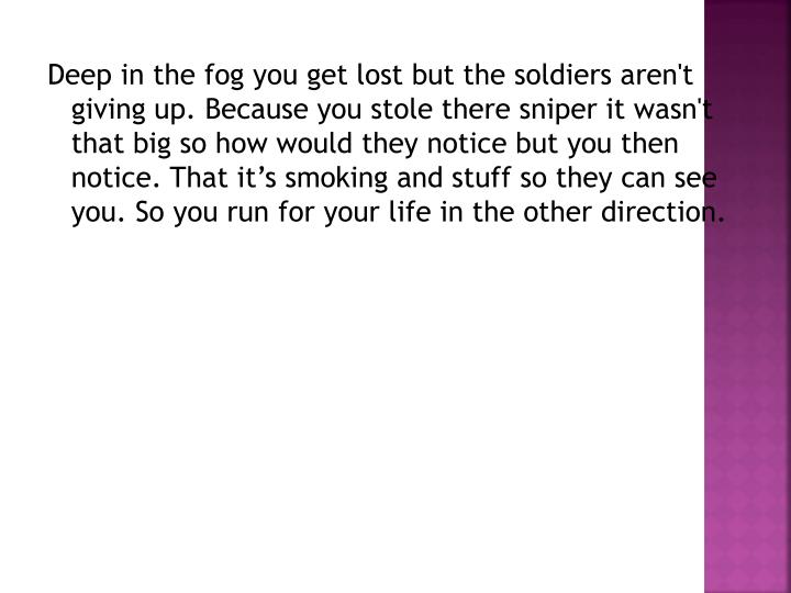 Deep in the fog you get lost but the soldiers aren't giving up. Because you stole there sniper it wasn't that big so how would they notice but you then notice. That it's smoking and stuff so they can see you. So you run for your life in the other direction.