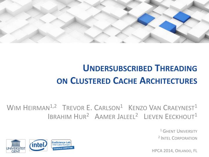 Undersubscribed threading on clustered cache architectures
