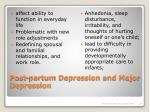 post partum depression and major depression