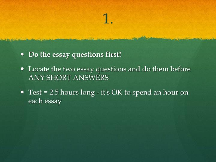 task c short answer questions essay Essay questions may appear to be easier to write than multiple choice and other question types, but writing effective essay questions requires a great deal of thought and planning if an essay question is vague, it will be much more difficult for the students to answer and much more difficult for the instructor to score.