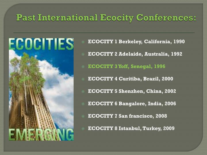 Past international ecocity conferences