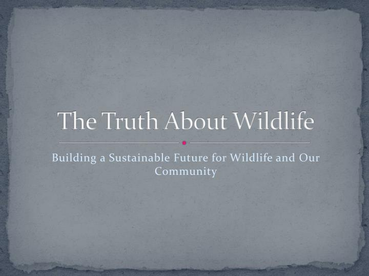 the truth about wildlife n.