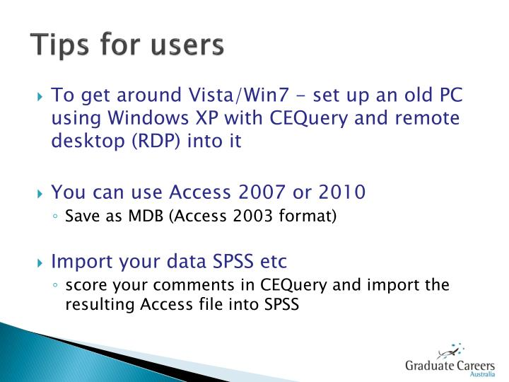 Tips for users