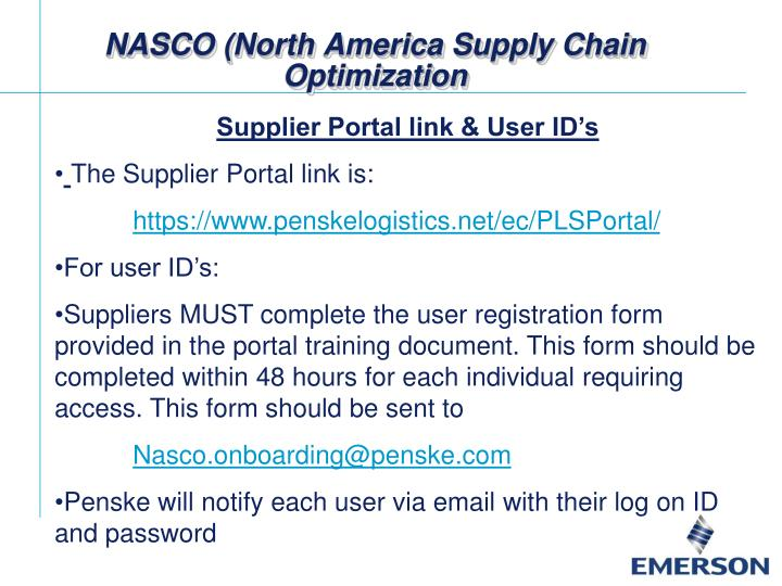 NASCO (North America Supply Chain Optimization