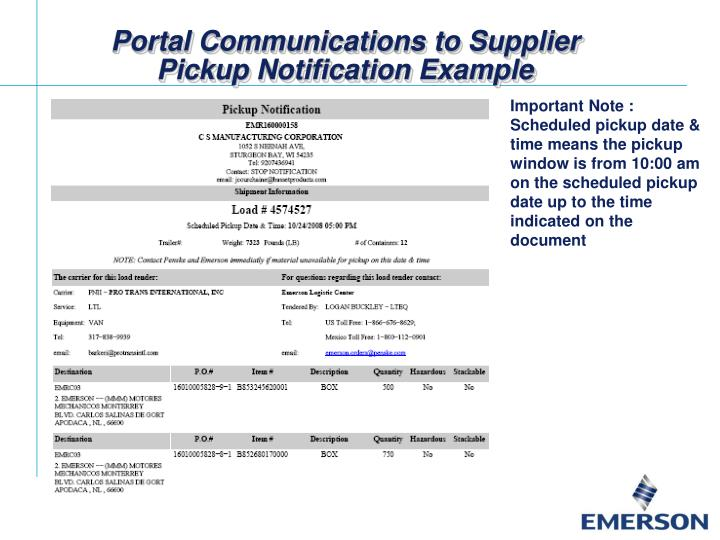 Portal Communications to Supplier