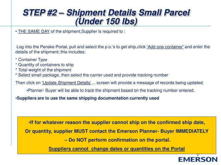 STEP #2 – Shipment Details Small Parcel (Under 150 lbs)