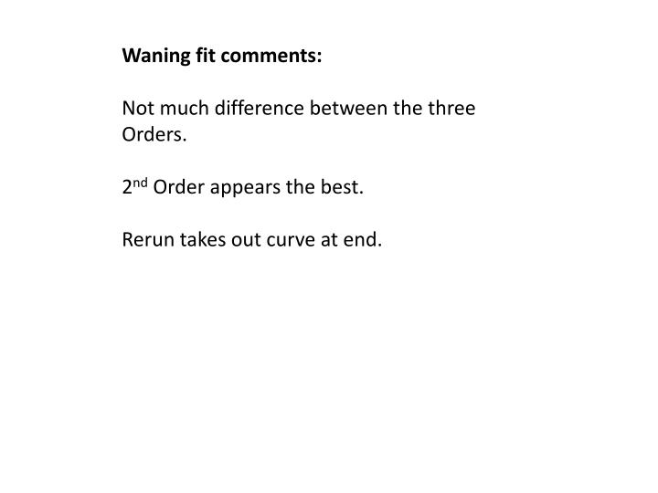 Waning fit comments: