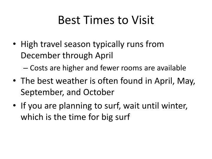 Best times to visit